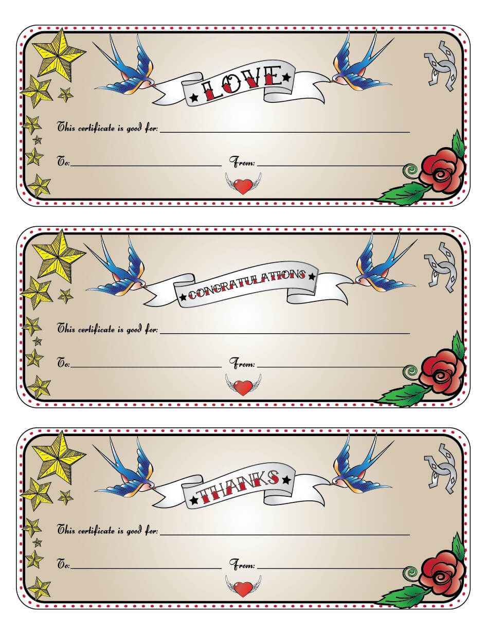 Tattoo Gift Certificate Template. Printable Gift Certificate with regard to Tattoo Gift Certificate Template