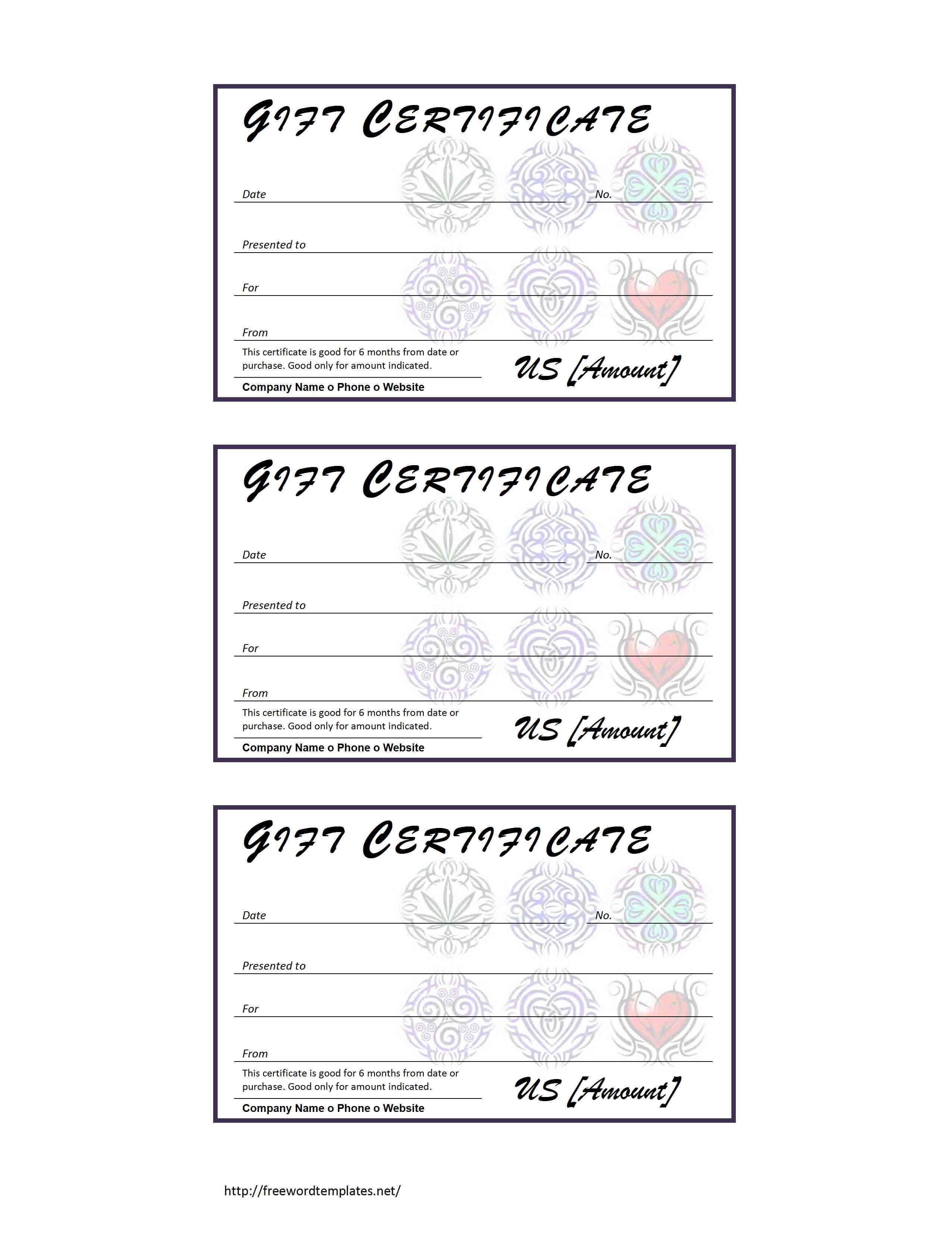 Tattoo Gift Certificate Template regarding Tattoo Gift Certificate Template