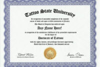 Tattoo Tattooing Body Art Degree: Custom Gag Diploma inside Doctorate Certificate Template