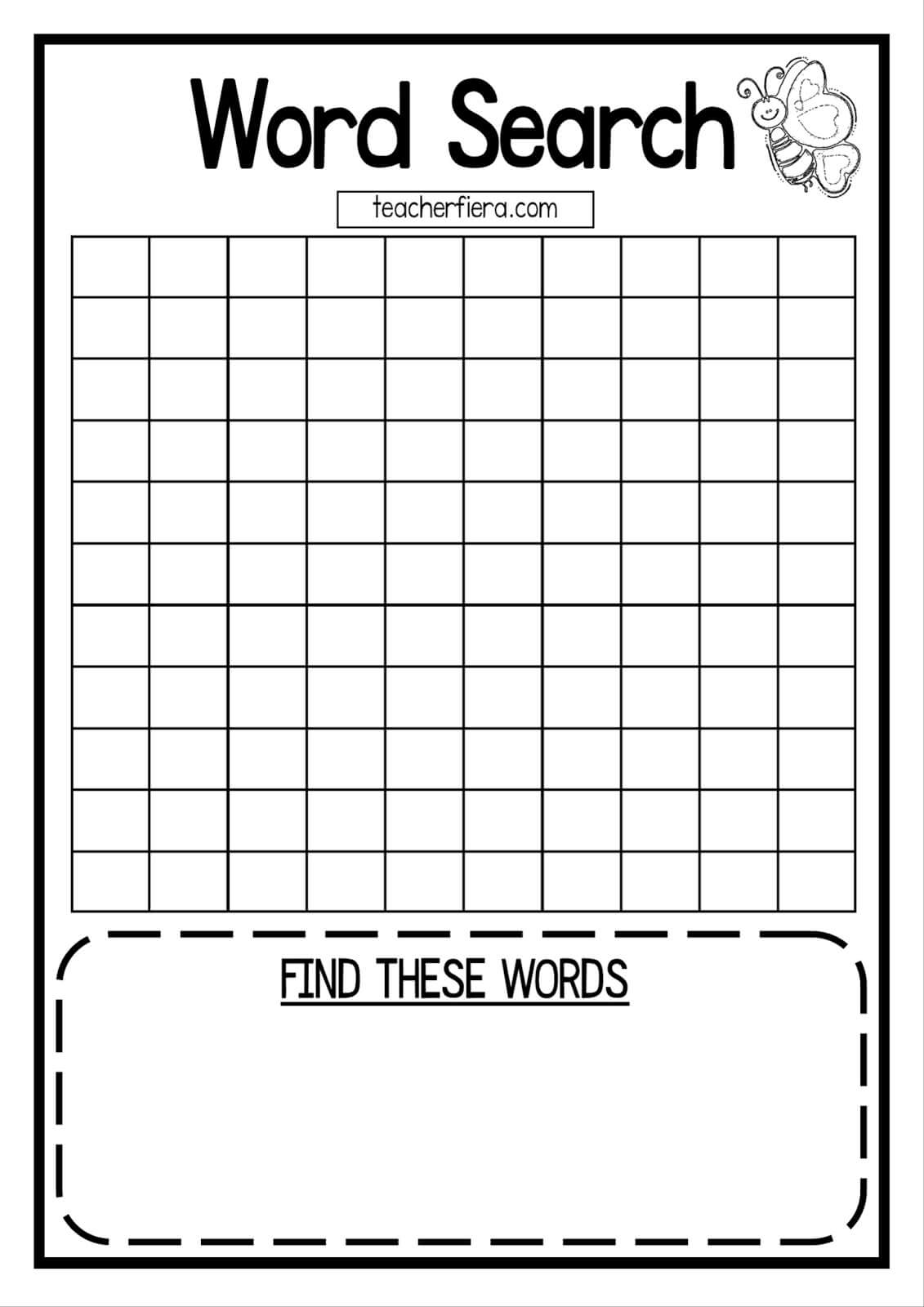 Teacherfiera: Word Search Templates (Coloured And Black For Word Sleuth Template