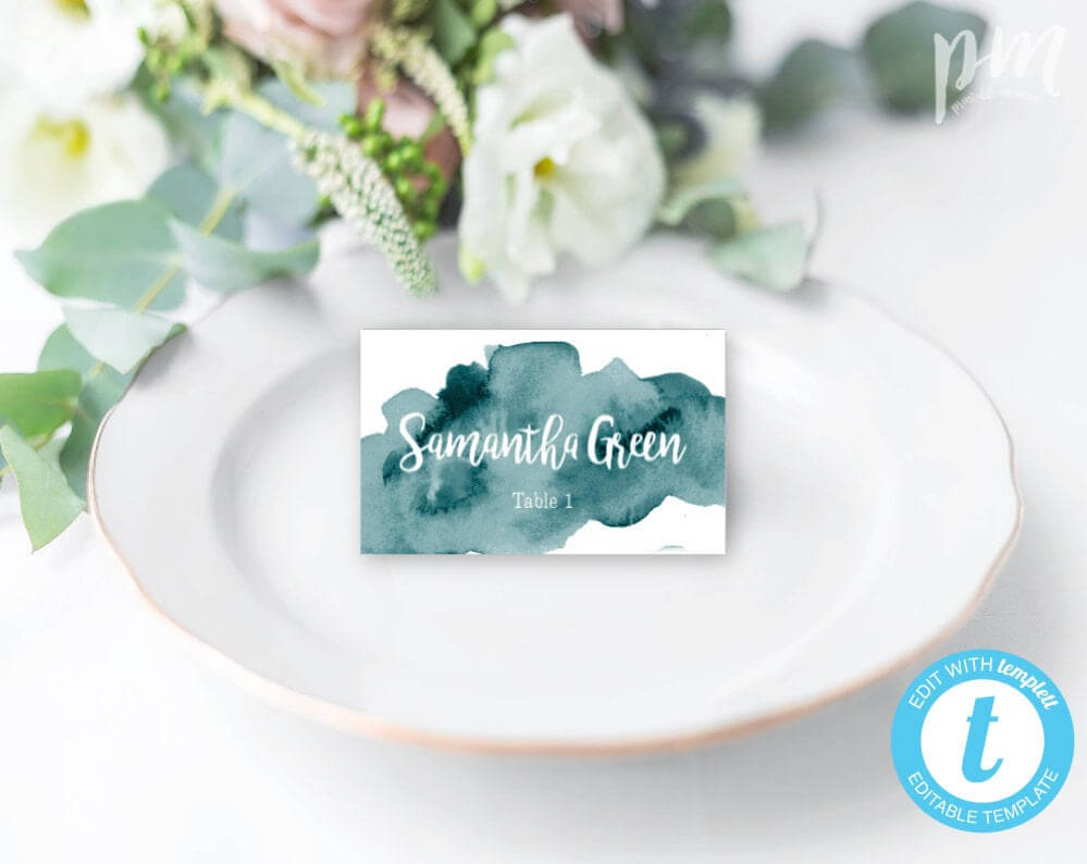 Teal Watercolor Wedding Place Card Template, Escort Cards, Printable Place  Cards, Green Place Cards, Tent Fold Place Cards, Editable, Wbtw In Place Card Template Free 6 Per Page