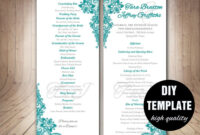 Teal Wedding Program Template – Instant Download Microsoft for Free Printable Wedding Program Templates Word
