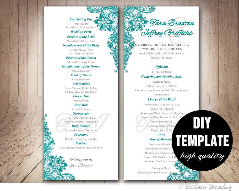 Teal Wedding Program Template - Instant Download Microsoft For Free Printable Wedding Program Templates Word