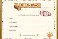 Teddy Bear Birth Certificate | Sarah | Birth Certificate for Baby Doll Birth Certificate Template