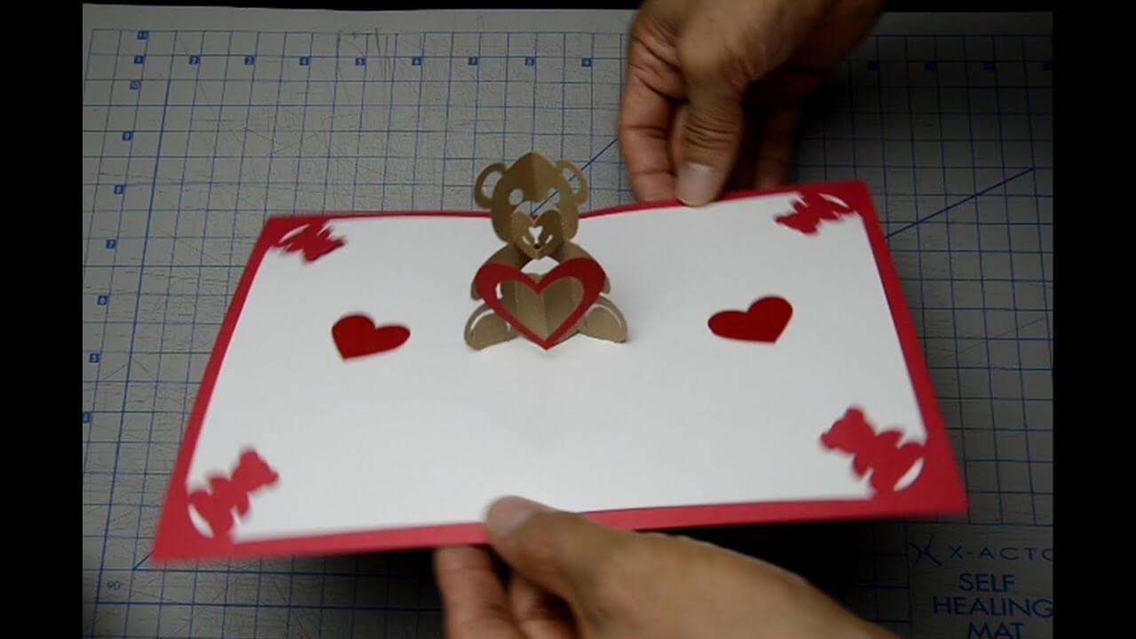 Teddy Bear Pop Up Card: Tutorial Inside Teddy Bear Pop Up Card Template Free