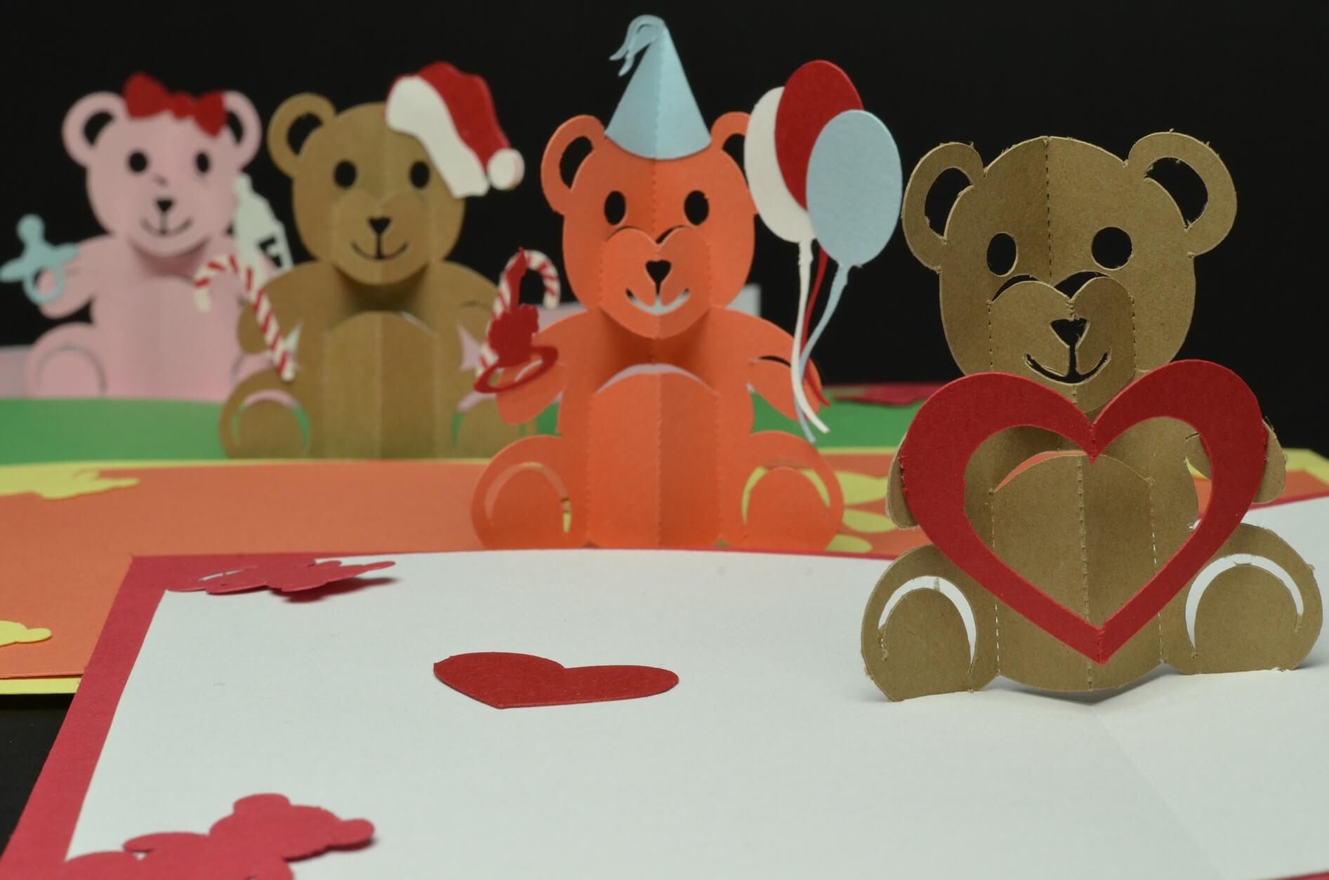 Teddy Bear Pop Up Card: Valentines Day, Birthday, Christmas throughout Teddy Bear Pop Up Card Template Free
