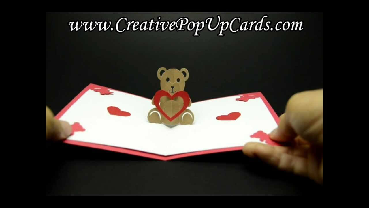Teddy Bear Valentines Day Pop Up Card with Teddy Bear Pop Up Card Template Free