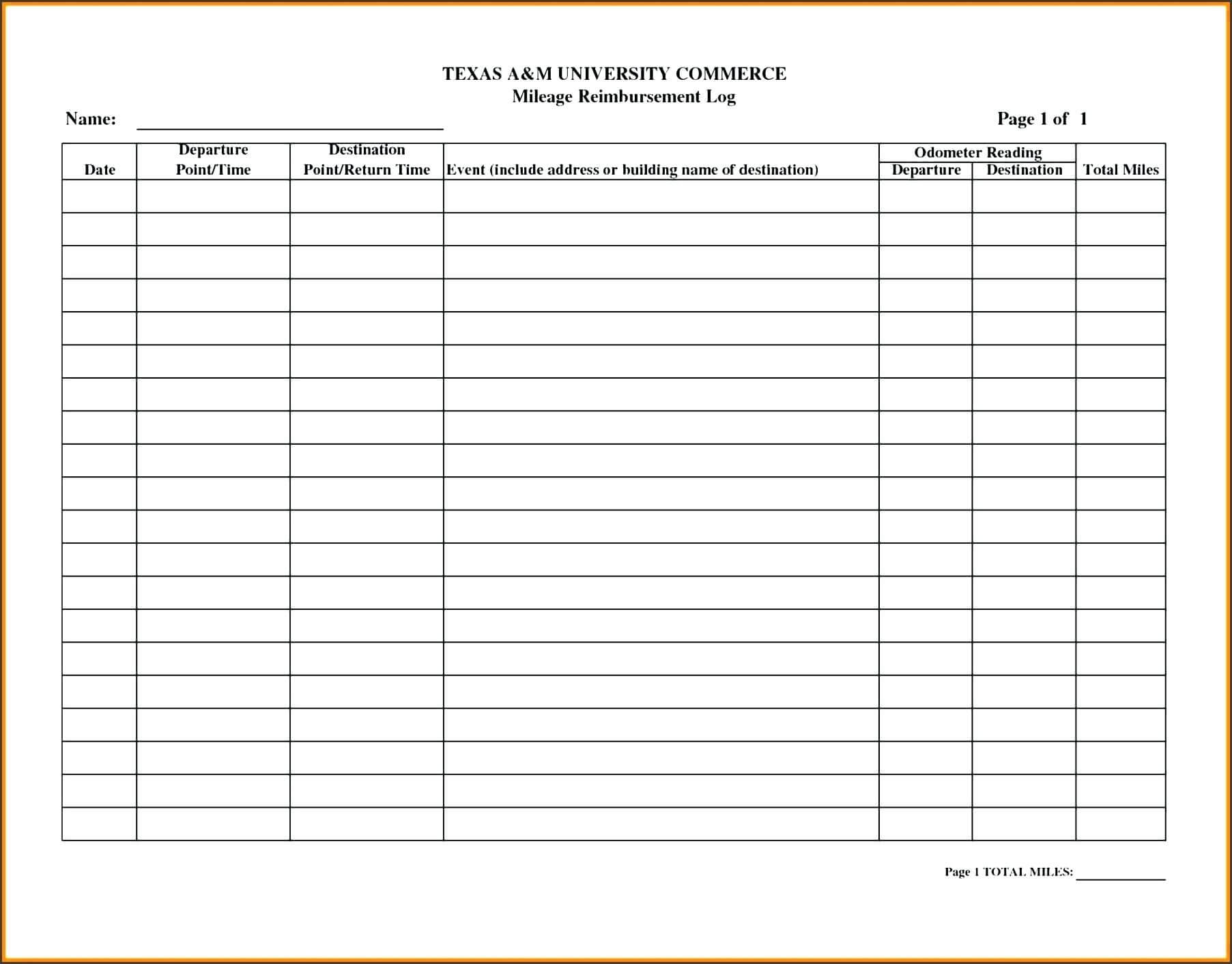 Template: Collection Of Free Printable Mileage Log Template pertaining to Mileage Report Template