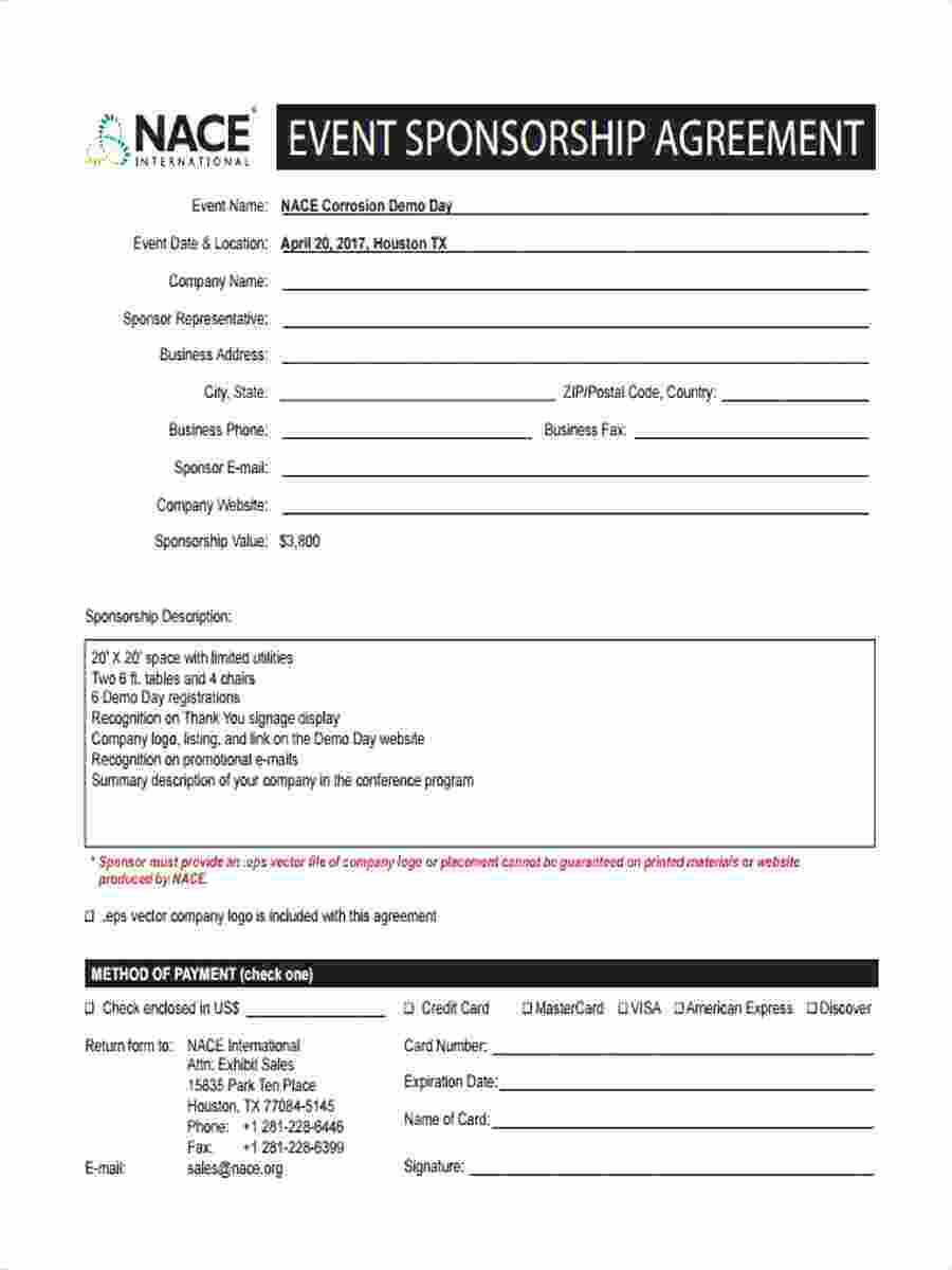 Template: Credit Note Letter Format Event Sponsorship inside Sponsor Card Template