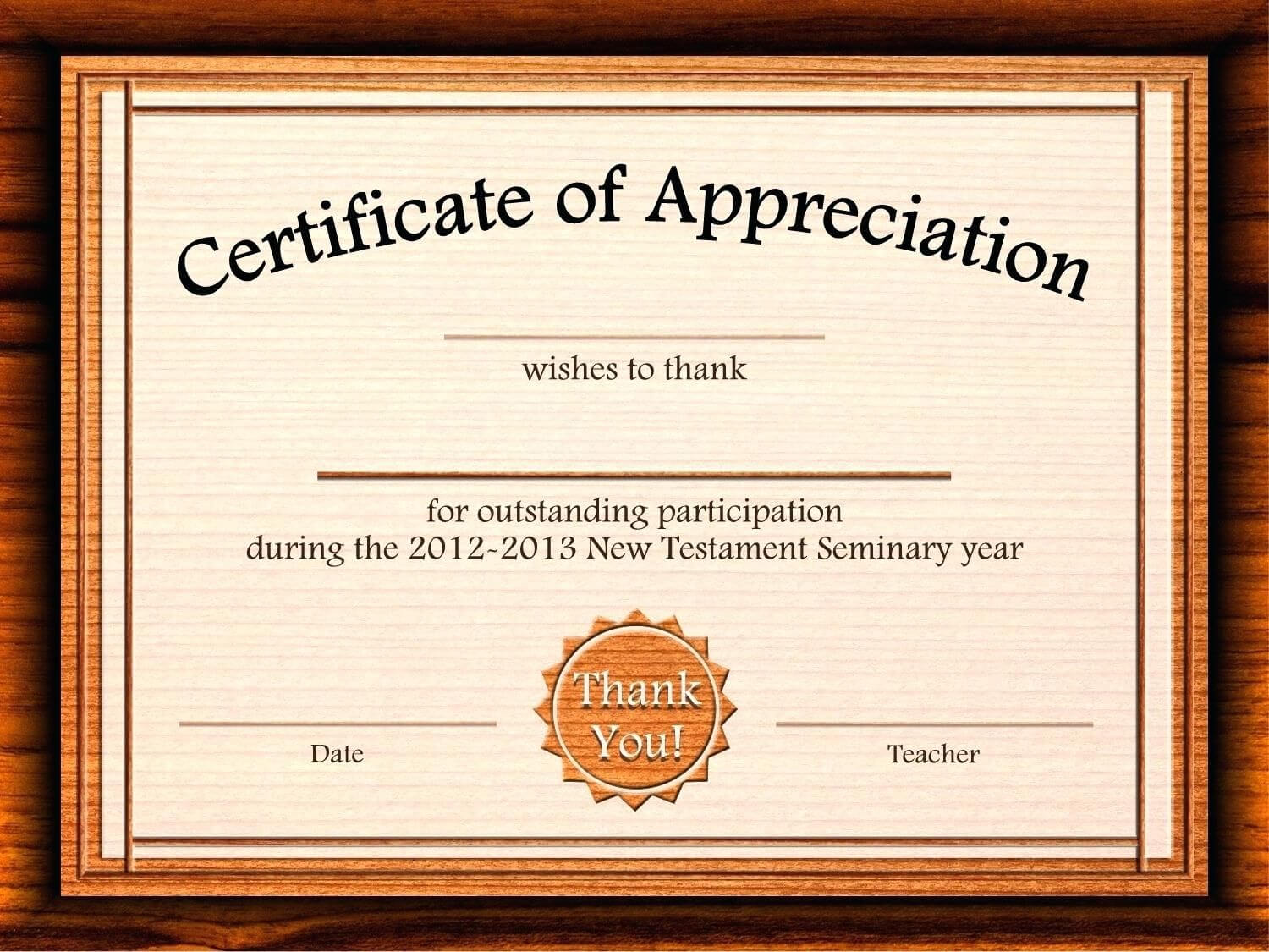 Template: Editable Certificate Of Appreciation Template Free regarding Participation Certificate Templates Free Download