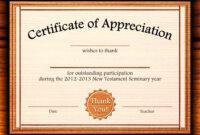 Template: Editable Certificate Of Appreciation Template Free With Certificate Of Participation Template Doc