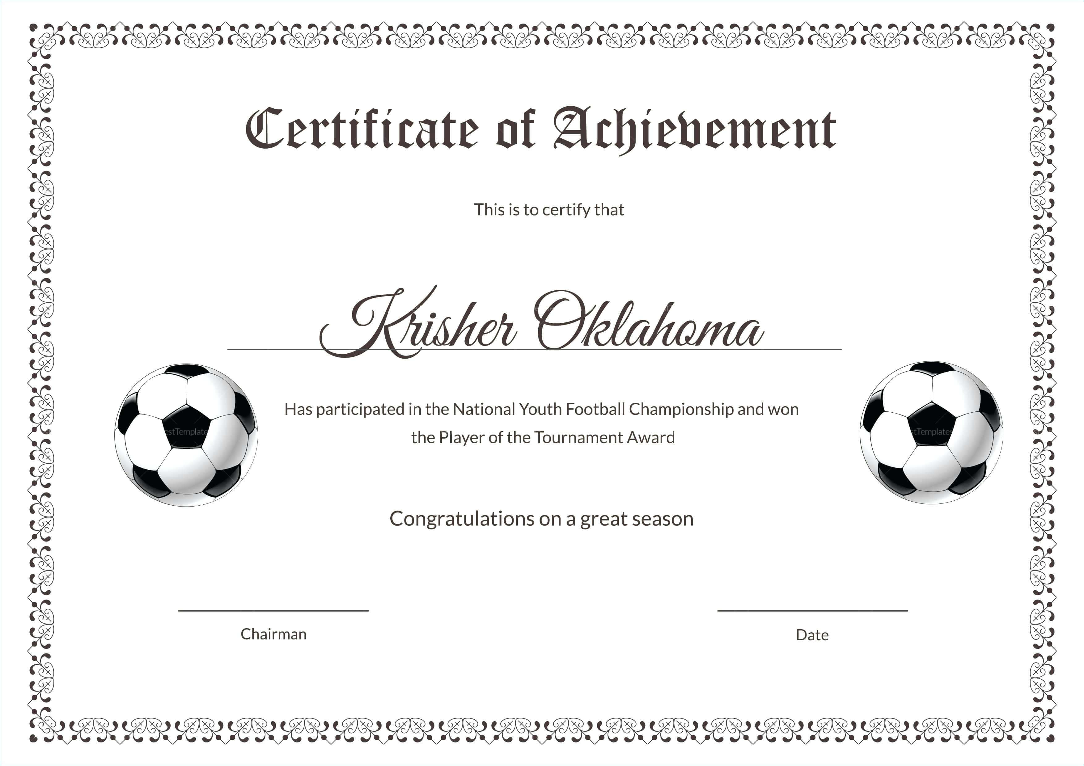 Template: Football Certificate Templates Majestic Award pertaining to Soccer Certificate Templates For Word