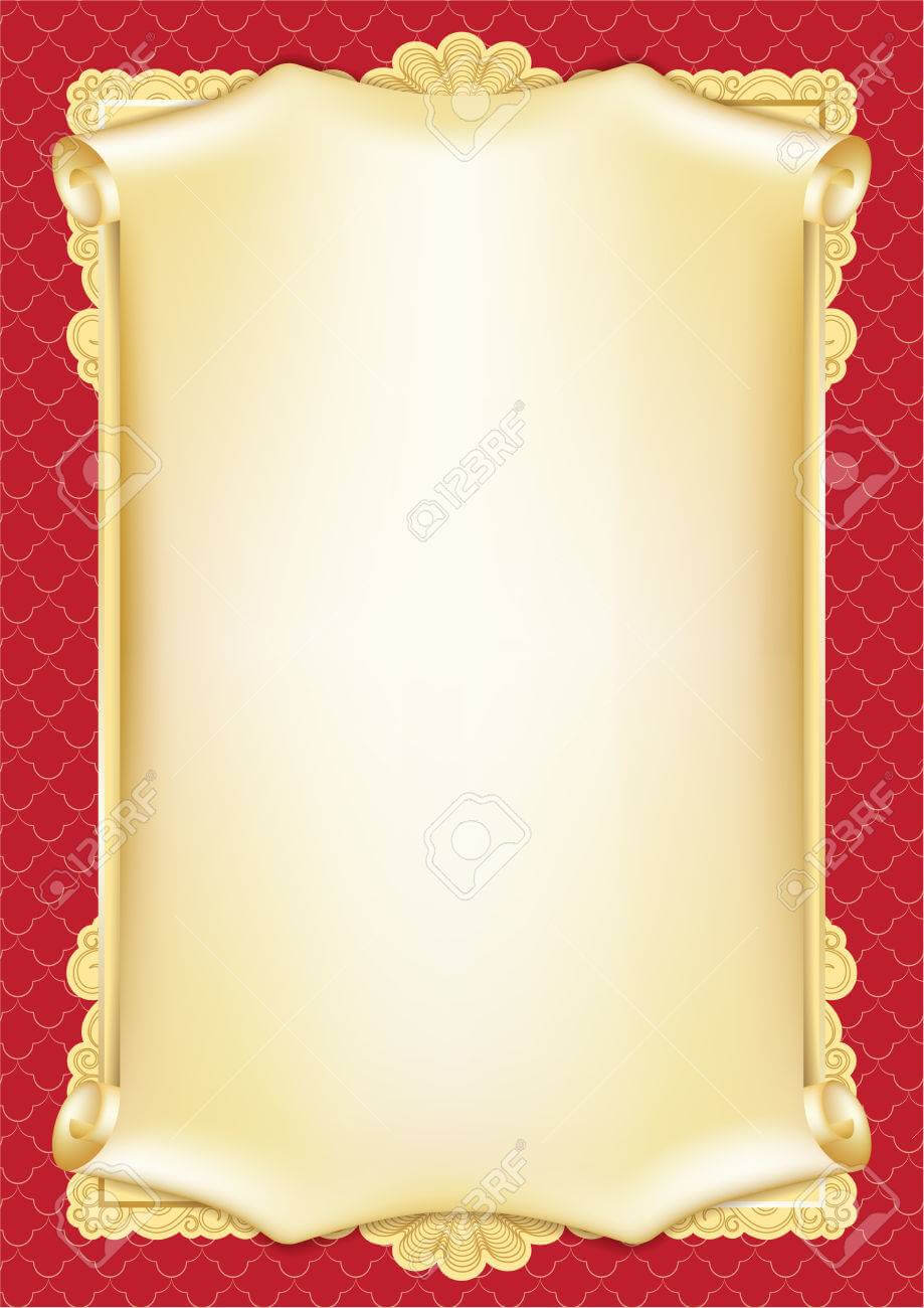 Template For Diploma, Certificate, Card With Scroll And Decorative.. With Certificate Scroll Template