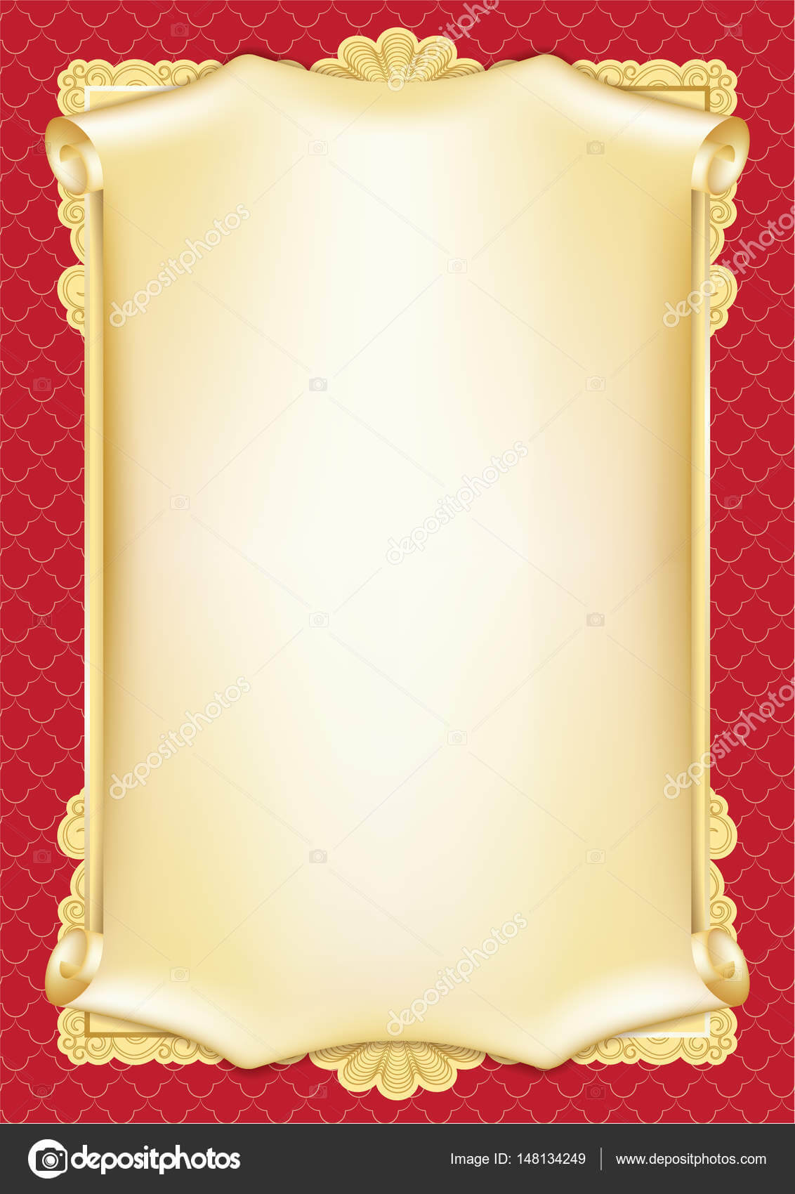 Template For Diploma, Certificate, Card With Scroll And Throughout Scroll Certificate Templates