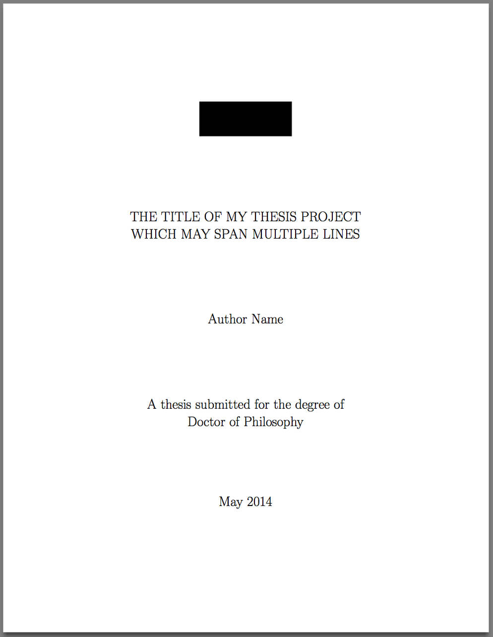 Template For Latex Phd Thesis Title Page – Texblog with regard to Project Report Template Latex