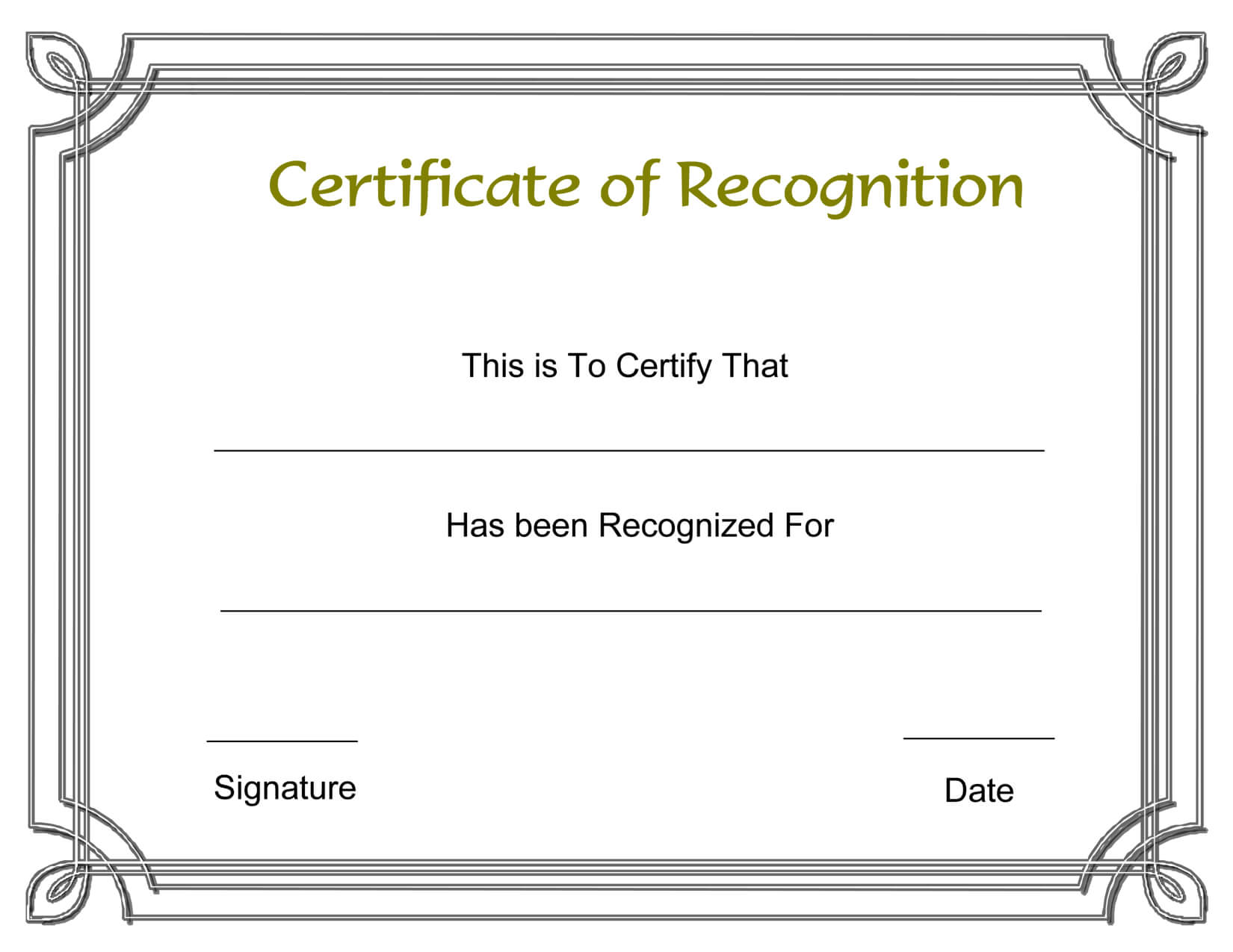 Template Free Award Certificate Templates And Employee for Printable Certificate Of Recognition Templates Free