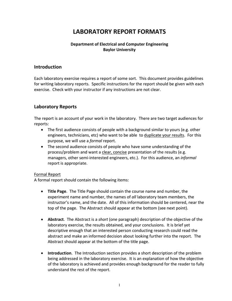 Template From Baylor | Manualzz in Engineering Lab Report Template