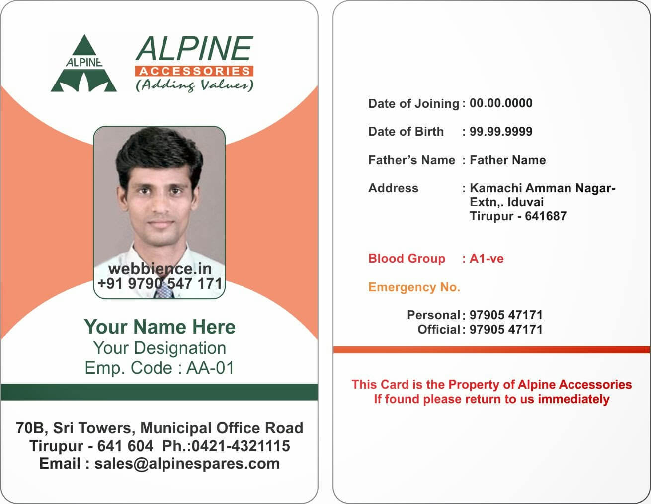 Template Galleries: Employee Id Card Templates - 2014085C throughout Sample Of Id Card Template