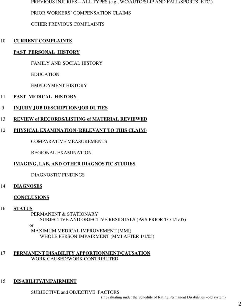 Template Medical Legal Report  Workers Compensation - Pdf For Medical Legal Report Template