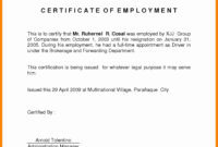 Template Of Certificate Of Employment – Atlantaauctionco with regard to Certificate Of Employment Template