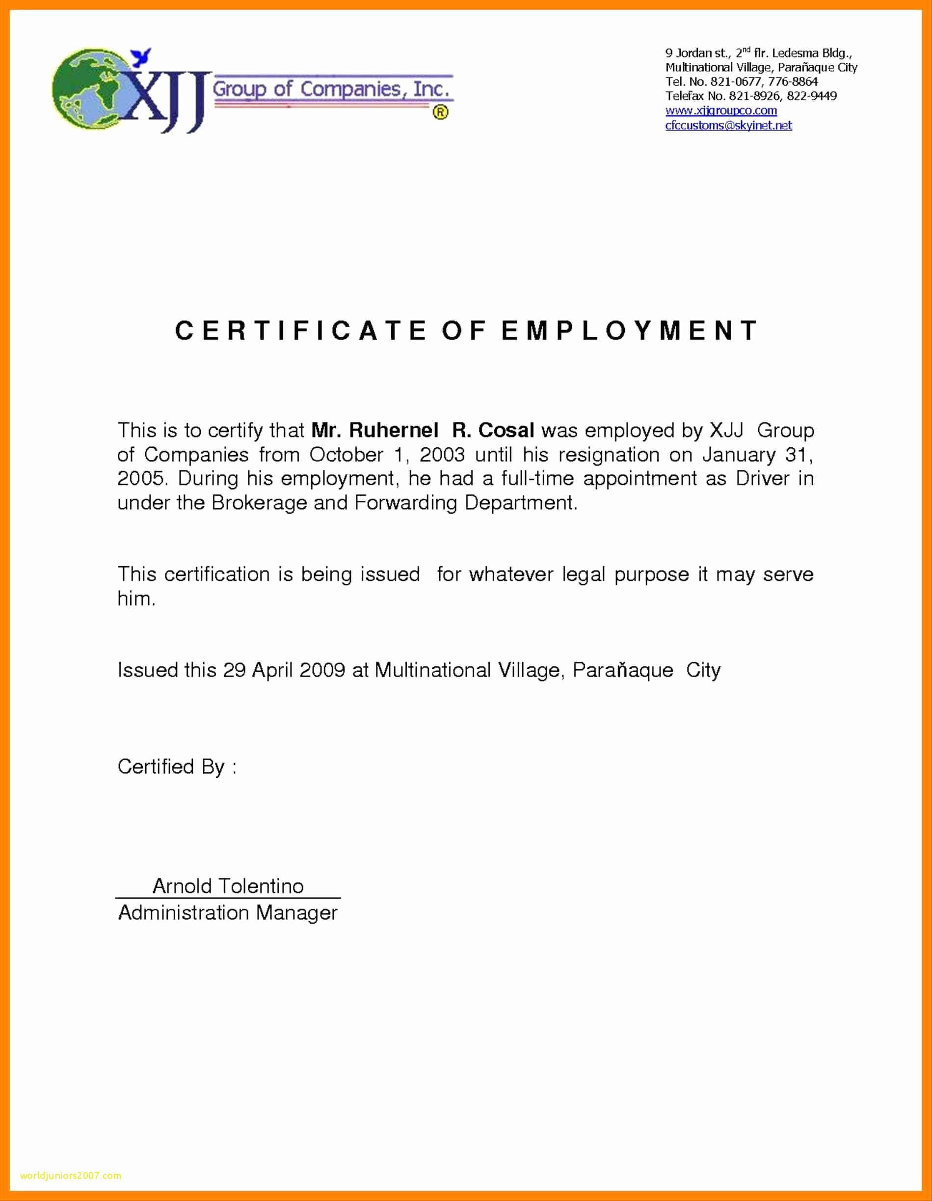 Template Of Certificate Of Employment - Atlantaauctionco with regard to Certificate Of Employment Template