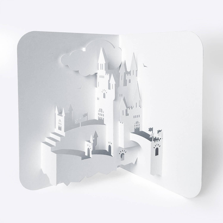 Template Pop-Up Card «Castle» regarding Pop Up Card Templates Free Printable