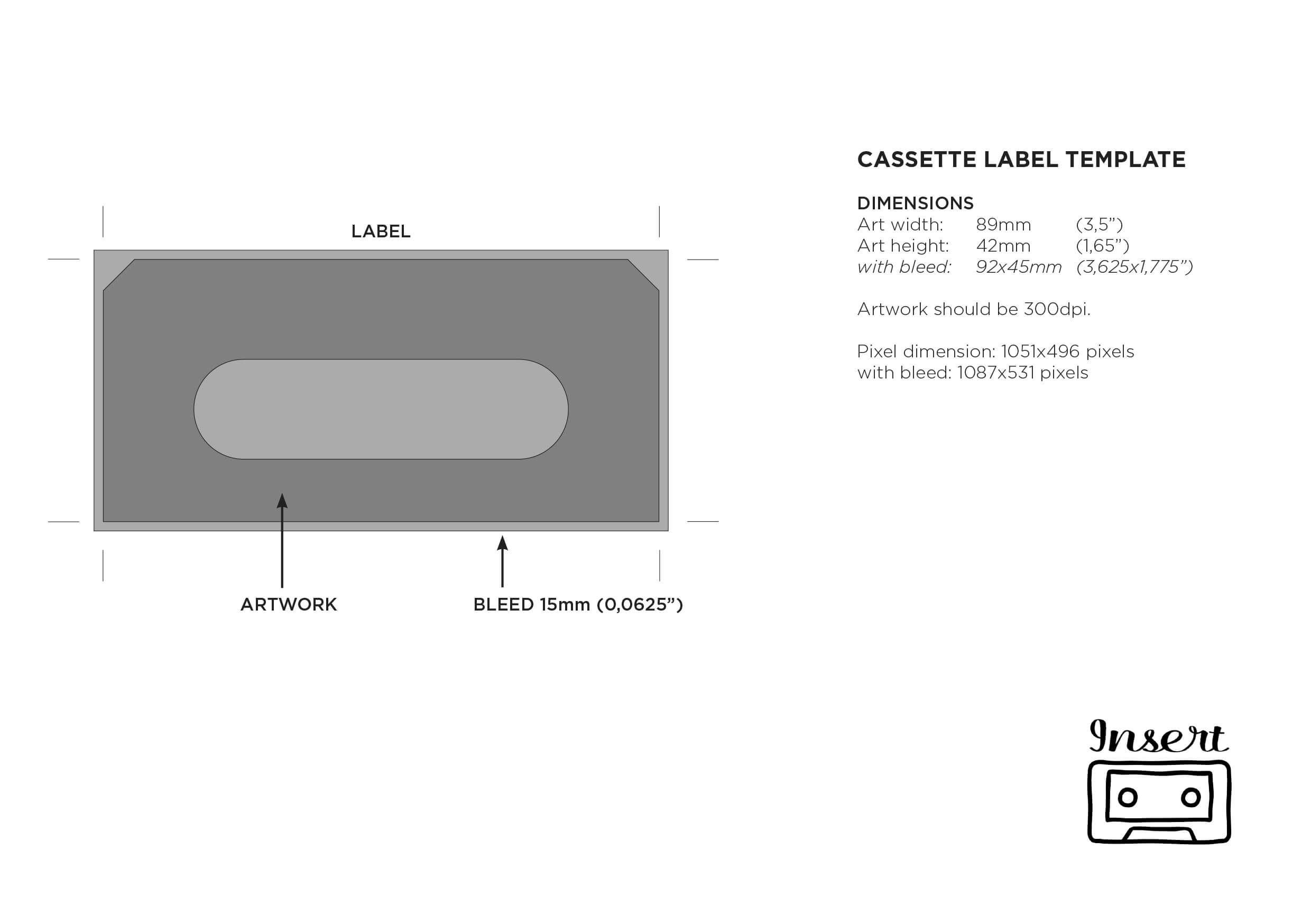 Templates – Insert Tapes for Cassette J Card Template