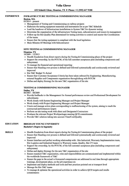 Testing & Commissioning Resume Samples | Velvet Jobs within Megger Test Report Template