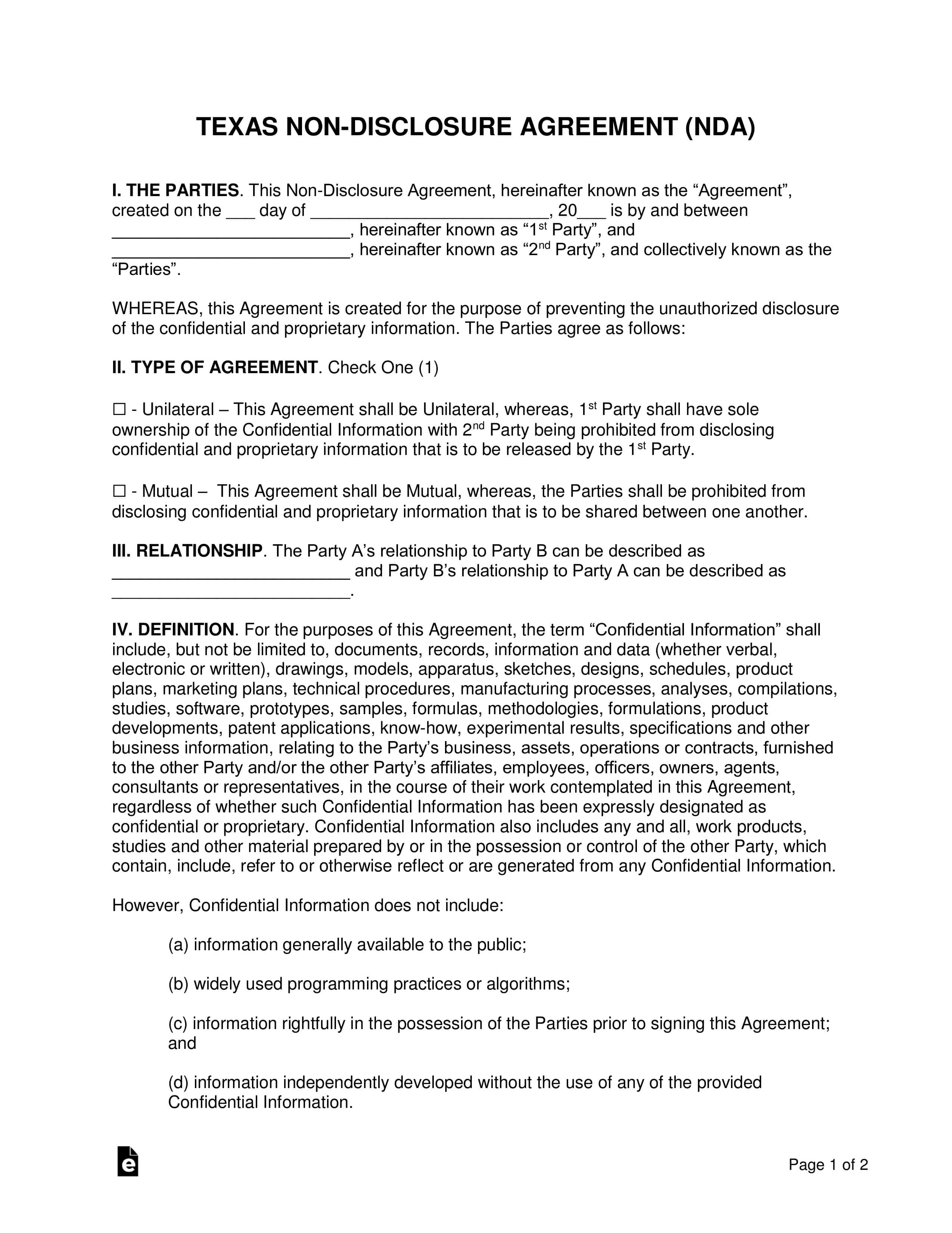 Texas Non-Disclosure Agreement (Nda) Template | Eforms with regard to Nda Template Word Document