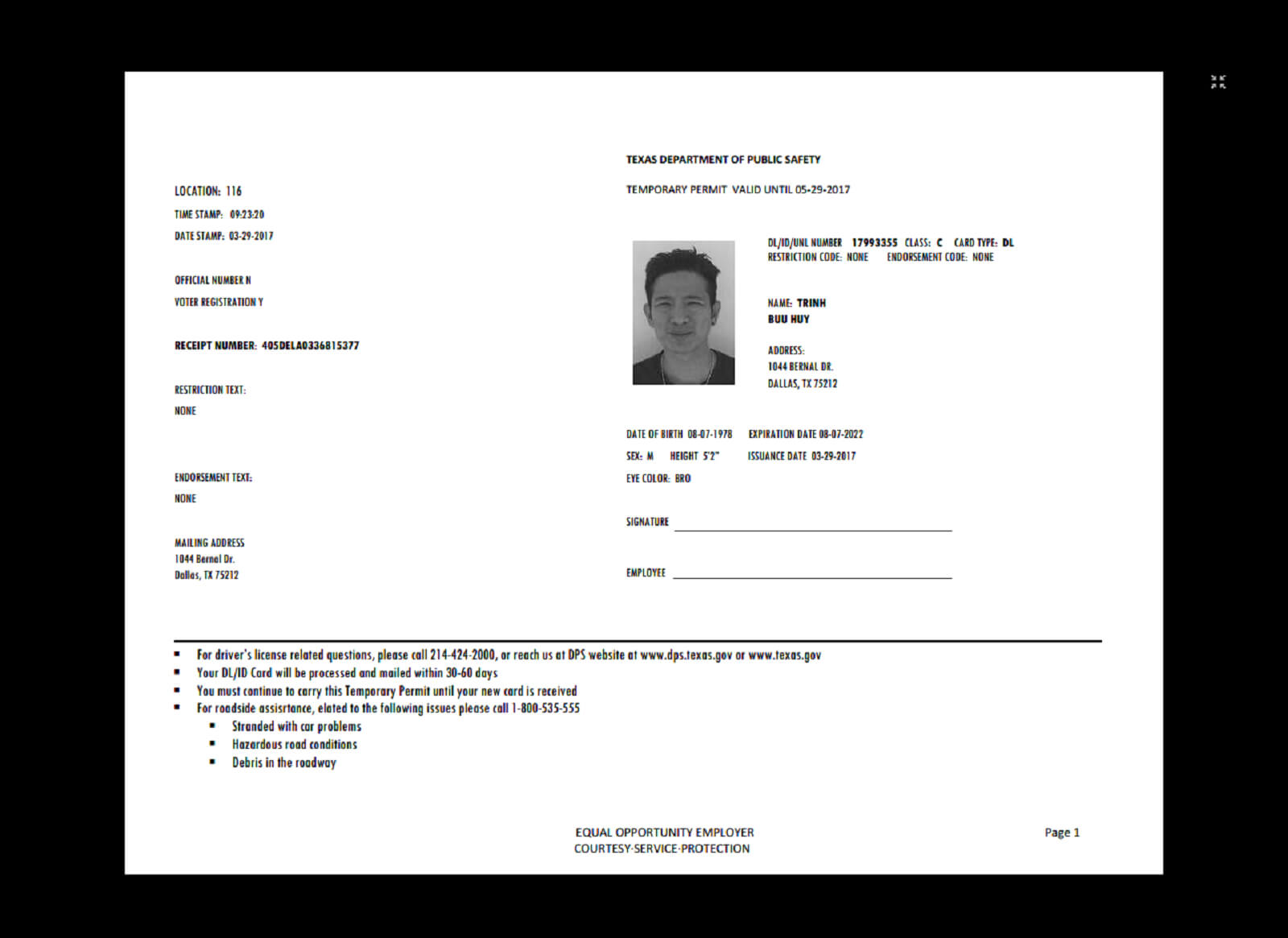 Texas Temp Driver's Permit, Template, Printable, Temporary Throughout Texas Id Card Template