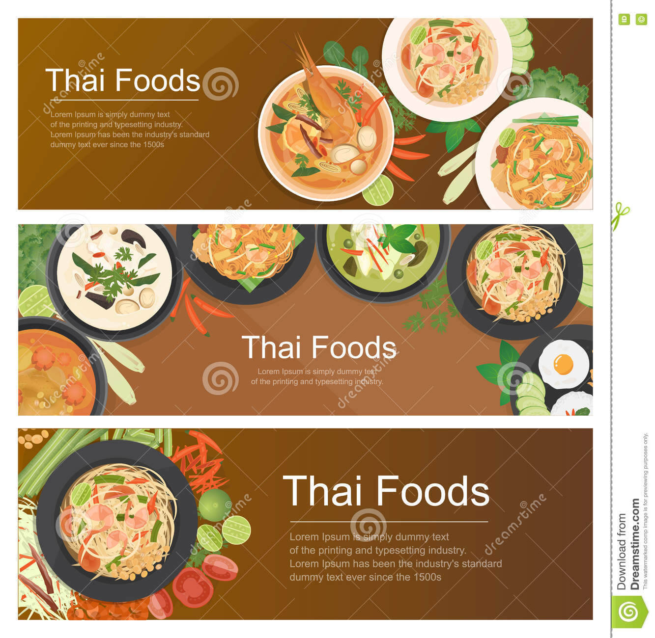 Thai Food Banner Template Stock Vector. Illustration Of Inside Food Banner Template
