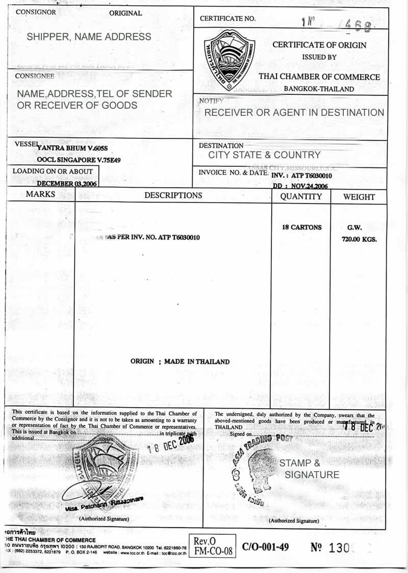 Thailand Certificate Of Origin And What It Means In Thailand Intended For Certificate Of Origin For A Vehicle Template