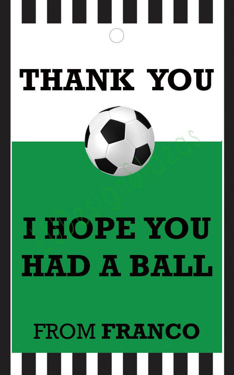 Thank You Card For Party Favors - Soccer Theme In Soccer Thank You Card Template