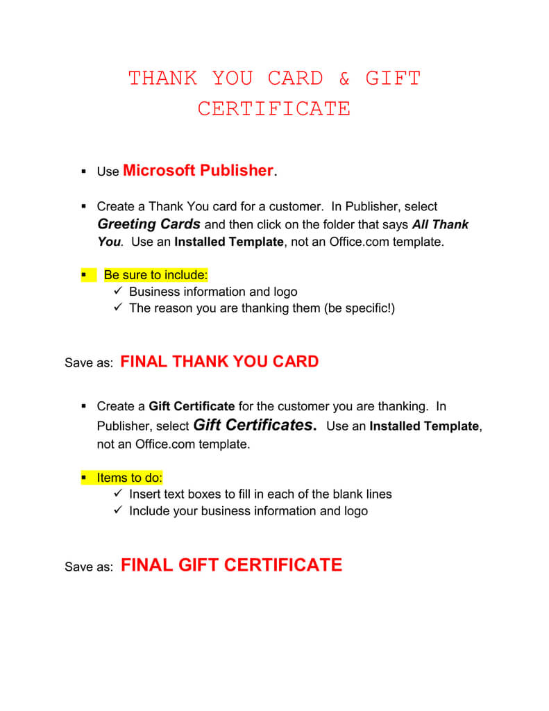 Thank You Card & Gift Certificate Microsoft Publisher . in Publisher Gift Certificate Template