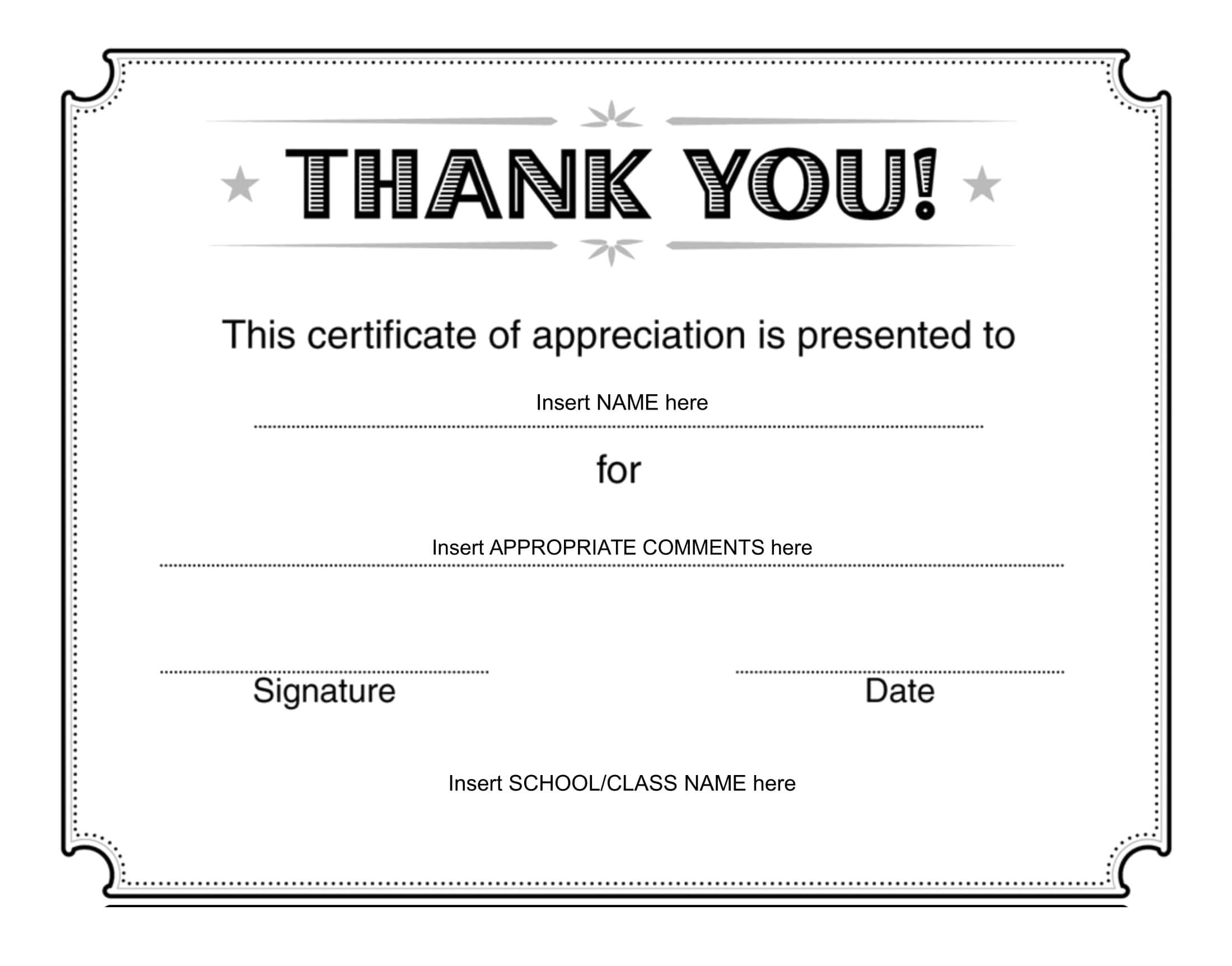 Thank You Certificate - Download Free Template with Farewell Certificate Template
