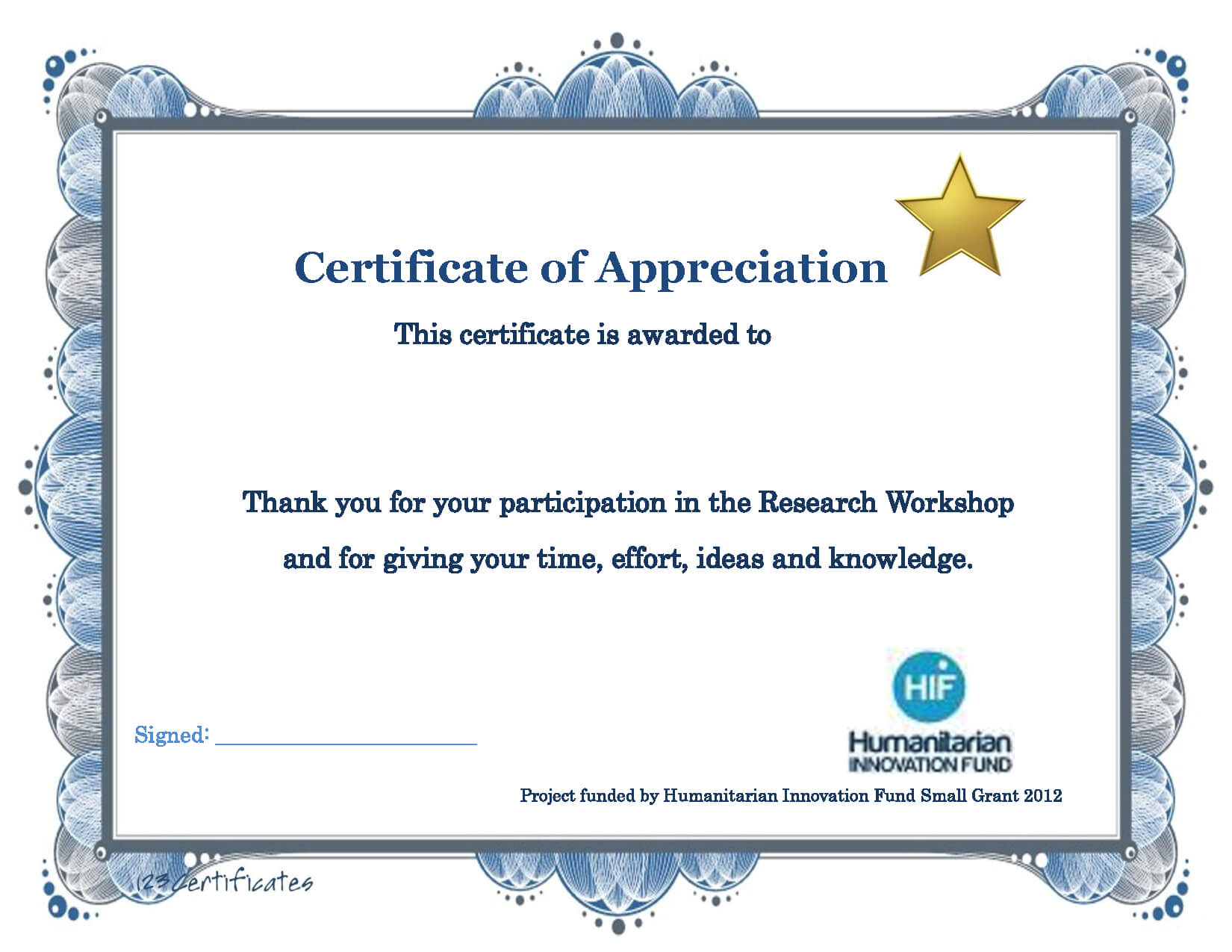 Thank You Certificate Template | Certificate Templates With Certificate Of Participation In Workshop Template