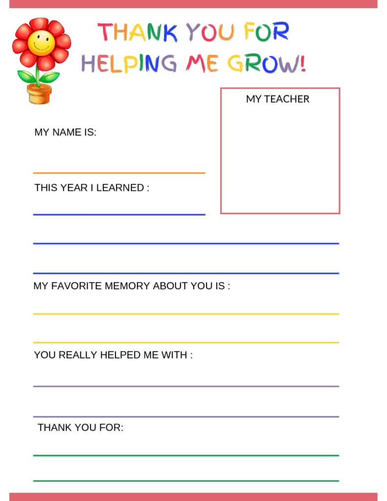 Thank You Letter To Teacher From Student – Free Printable Pertaining To Thank You Card For Teacher Template