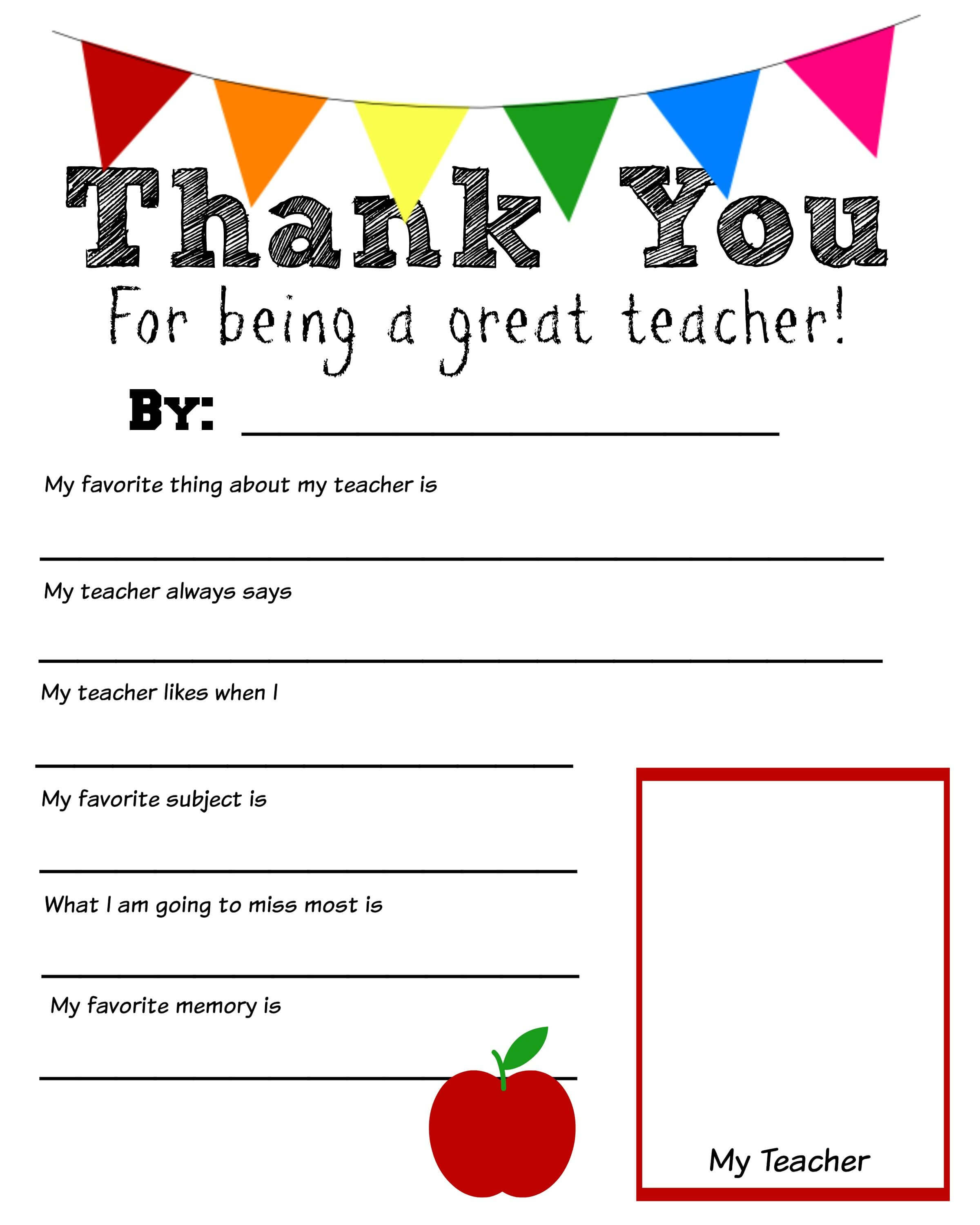 Thank You Teacher Free Printable | Teacher Appreciation In Thank You Card For Teacher Template
