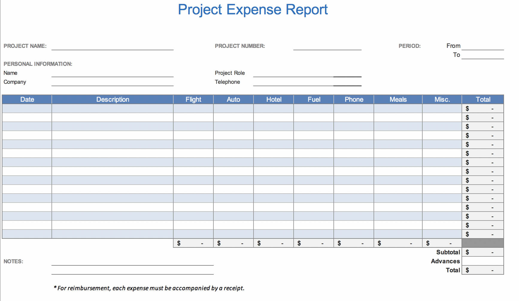 The 7 Best Expense Report Templates For Microsoft Excel Throughout Expense Report Spreadsheet Template Excel