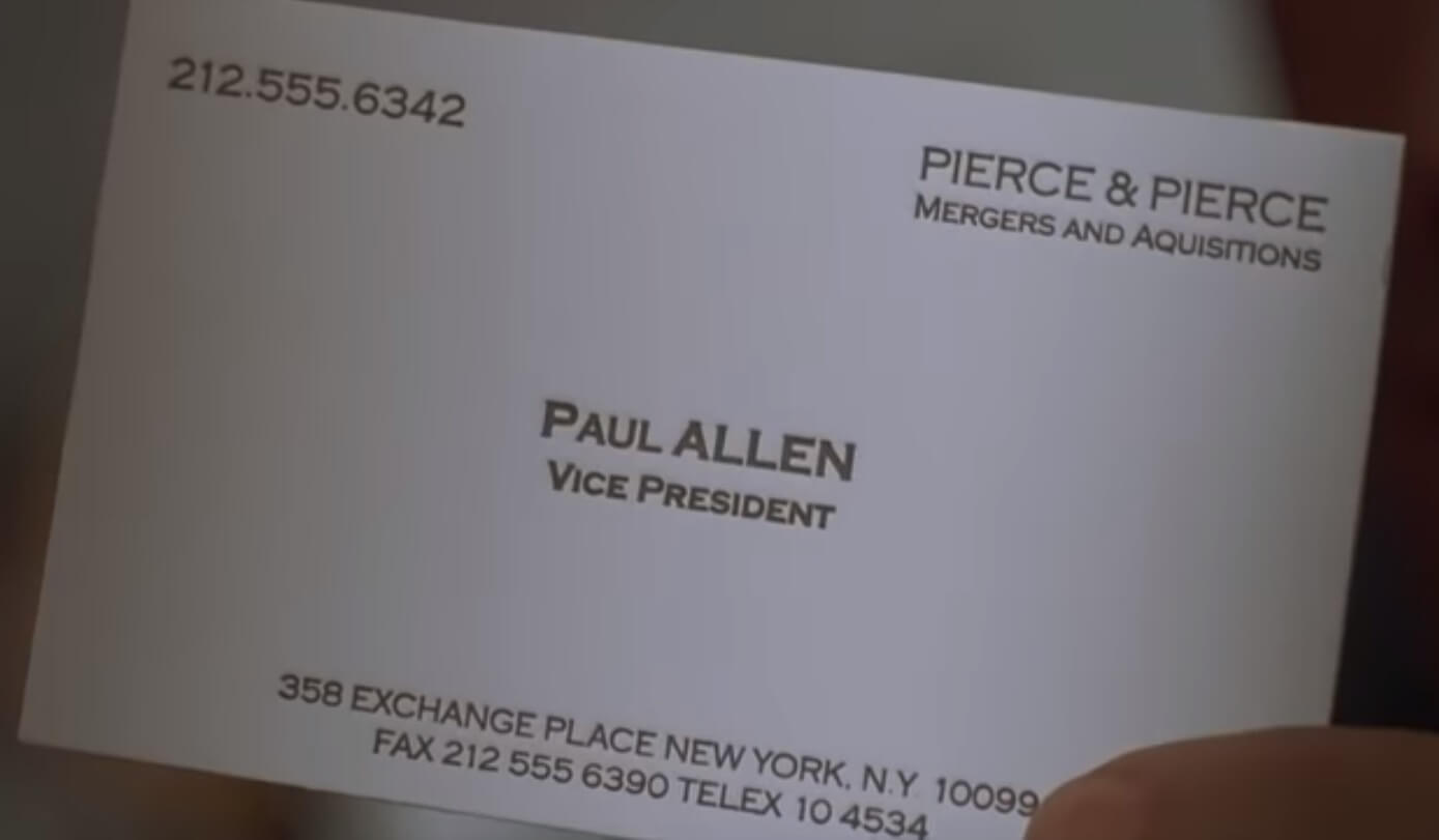 The Business Cards Of American Psycho | Hoban Cards throughout Paul Allen Business Card Template