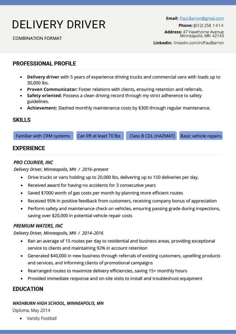 The Combination Resume: Examples, Templates, & Writing Guide with Combination Resume Template Word