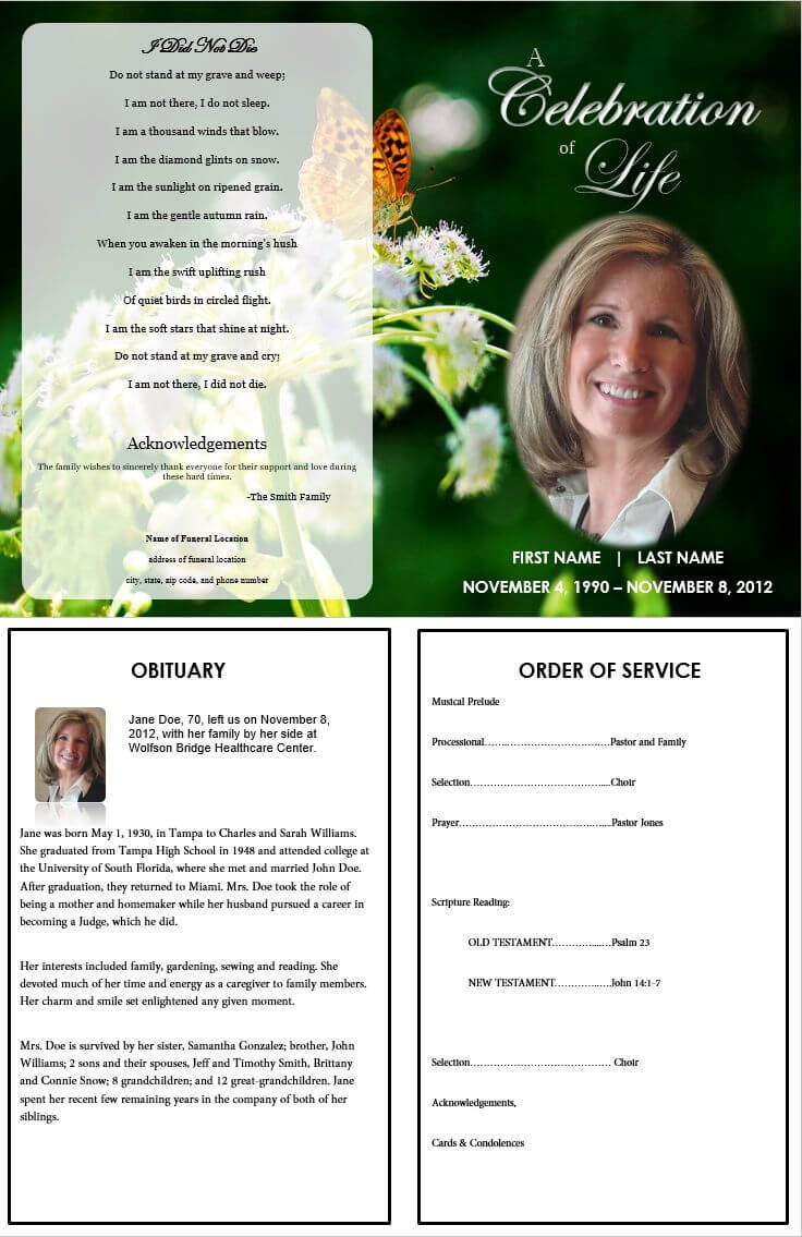 The Funeral Memorial Program Blog: Printable Funeral With Regard To Memorial Cards For Funeral Template Free