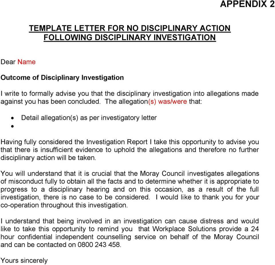 The Moray Council Disciplinary Procedures - Pdf throughout Investigation Report Template Disciplinary Hearing