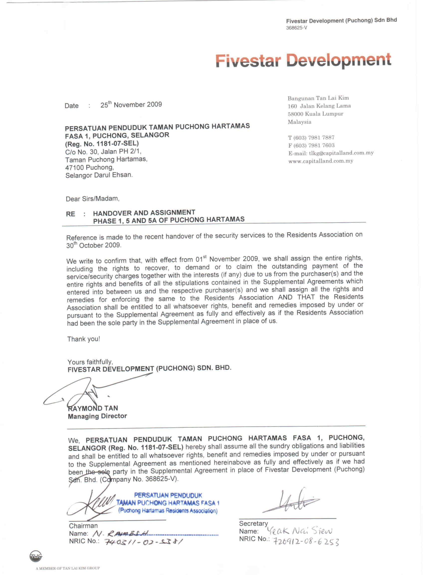 The Official Handover And Assignment Letter For intended for Handover Certificate Template