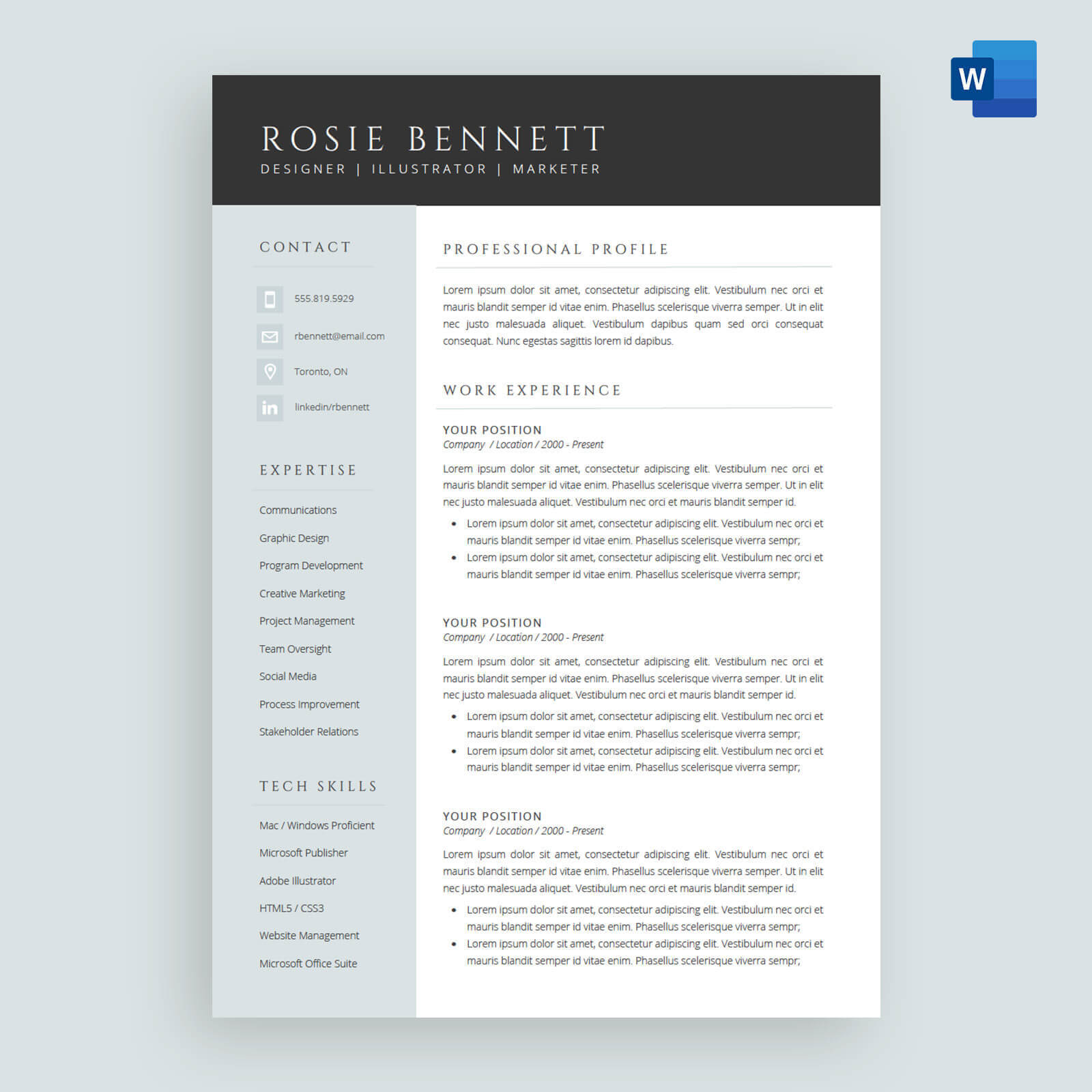 The 'rosie' Resume / Cv Template Package For Microsoft™ Word for How To Create A Cv Template In Word