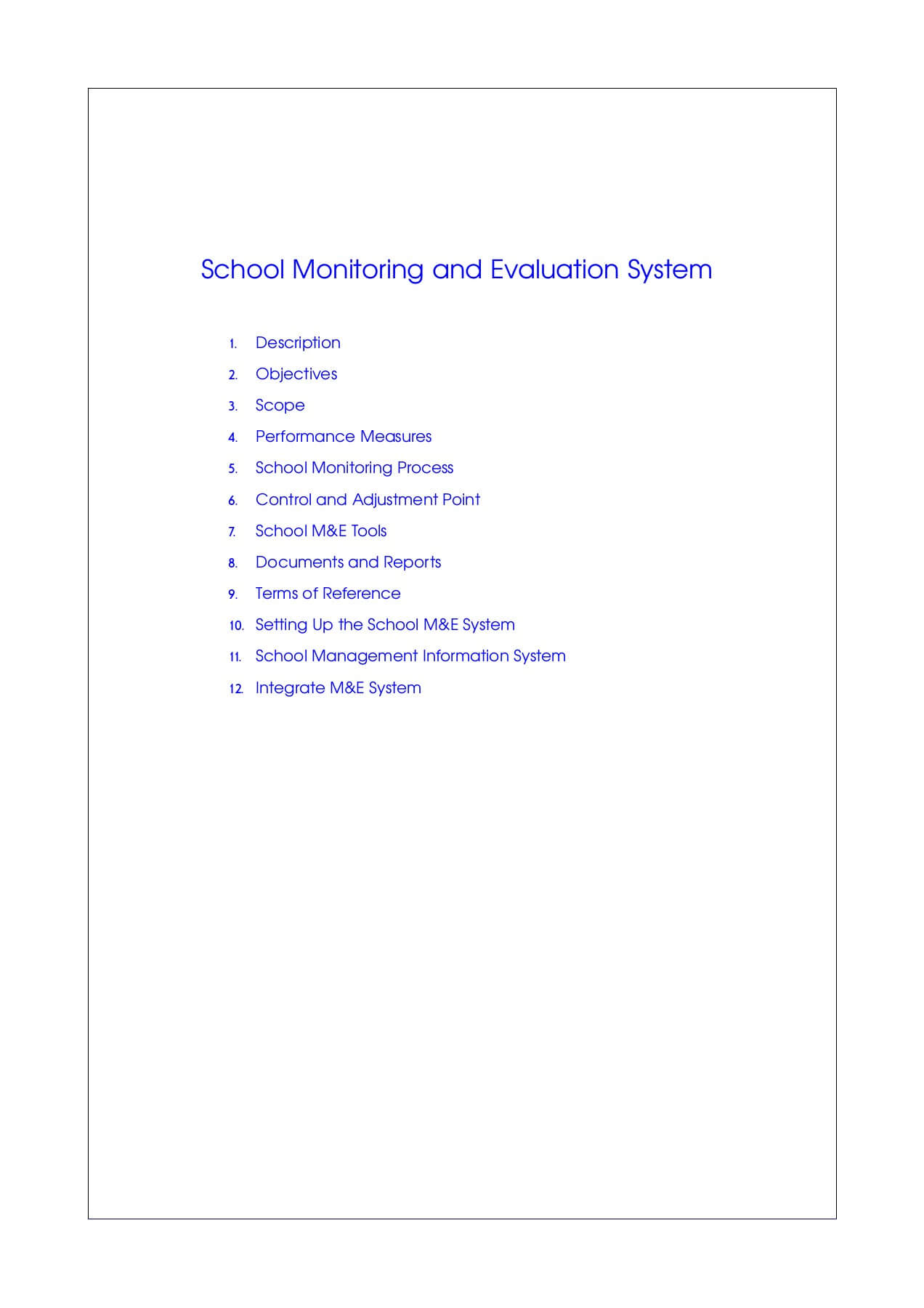 The School Monitoring And Evaluation System Pages 1 – 50 Within M&e Report Template
