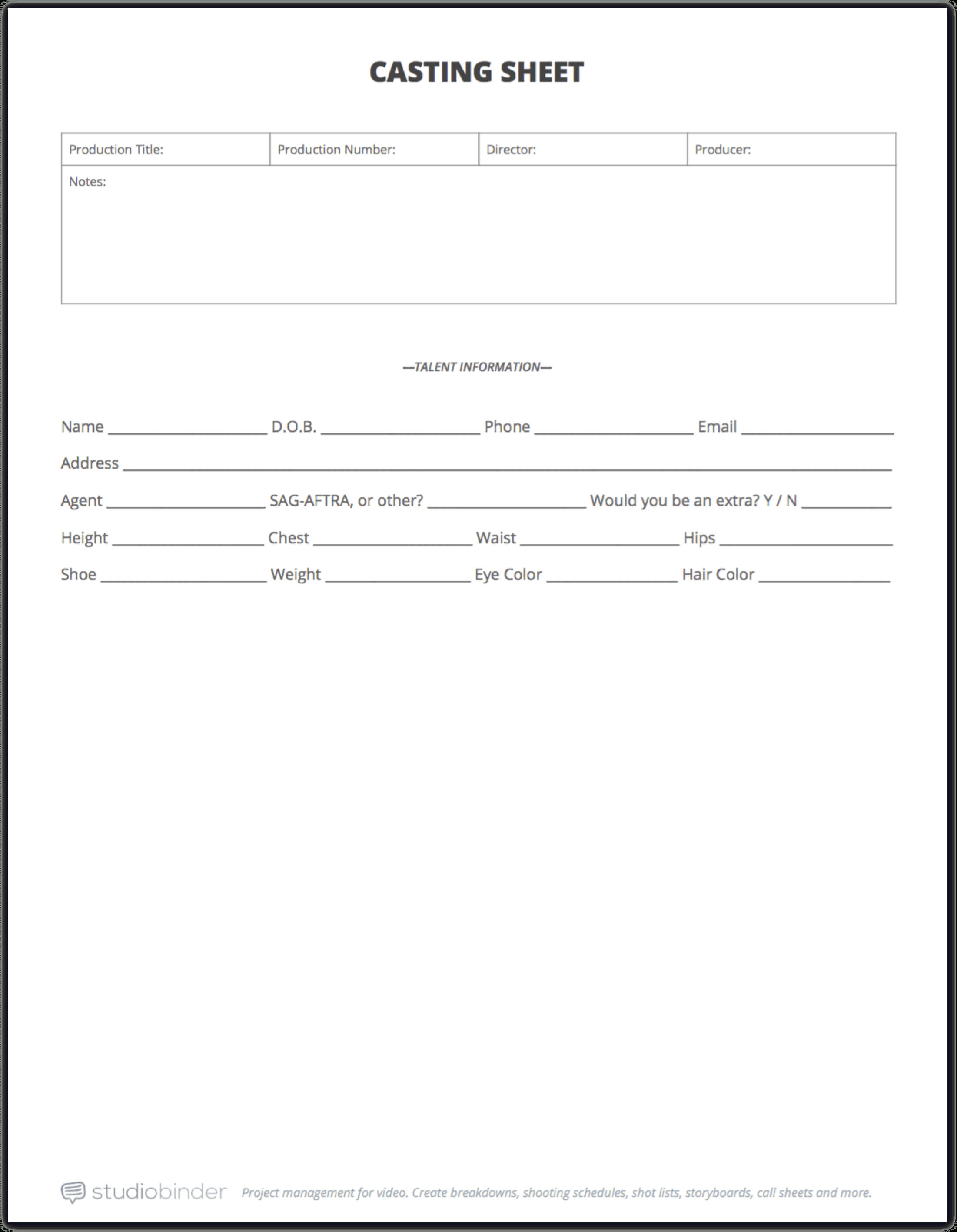 The Ultimate Guide To Casting Auditions [Free Casting Sheet In Film Call Sheet Template Word