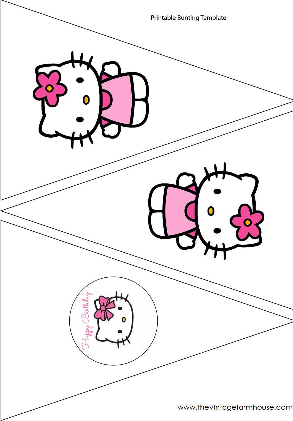 The Vintage Farmhouse: Hello Kitty Party & Free Printables intended for Hello Kitty Birthday Banner Template Free