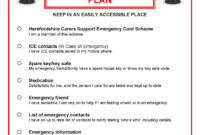 Think Carer, Herefordshire Carers Support. Emergency Card pertaining to In Case Of Emergency Card Template