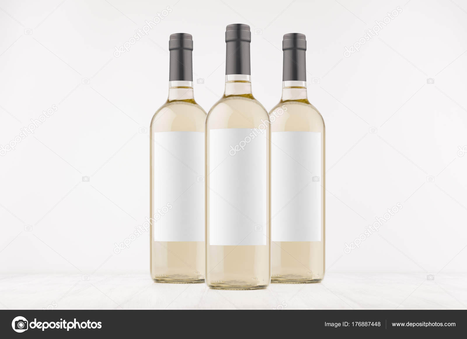 Three Trasparent Wine Bottles Blank White Labels White within Blank Wine Label Template